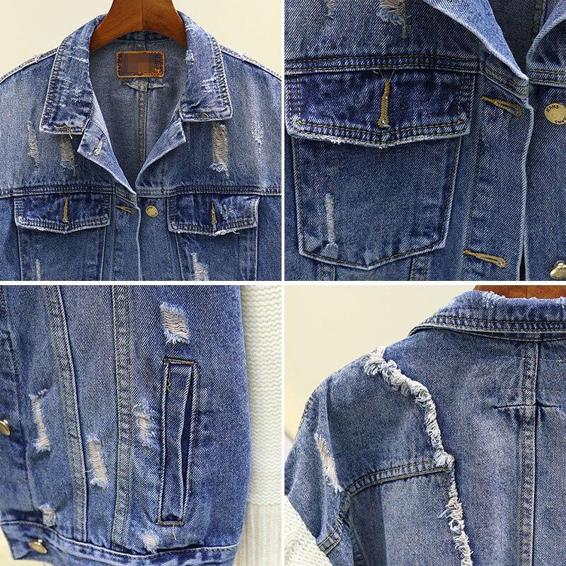 New Loose Hole Denim Stitching Knitted Sleeve Denim Coat Jacket Women Spring Autumn Fur Edge Street Jeans Jackets Basic Coats