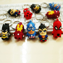 цена 3D Cartoon Figure PVC Marvel Avengers Keychain Cute Superhero Batman Spider Man Key Chain Key Ring Kids Key Holder Trinket Gift онлайн в 2017 году