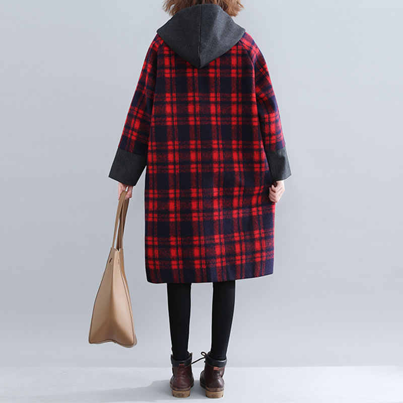 XITAO Лоскутная клетчатая смесь хит цвет карман женская одежда 2019 Мода матч все пальто Топ с капюшоном воротник Осень Зима WQR1607