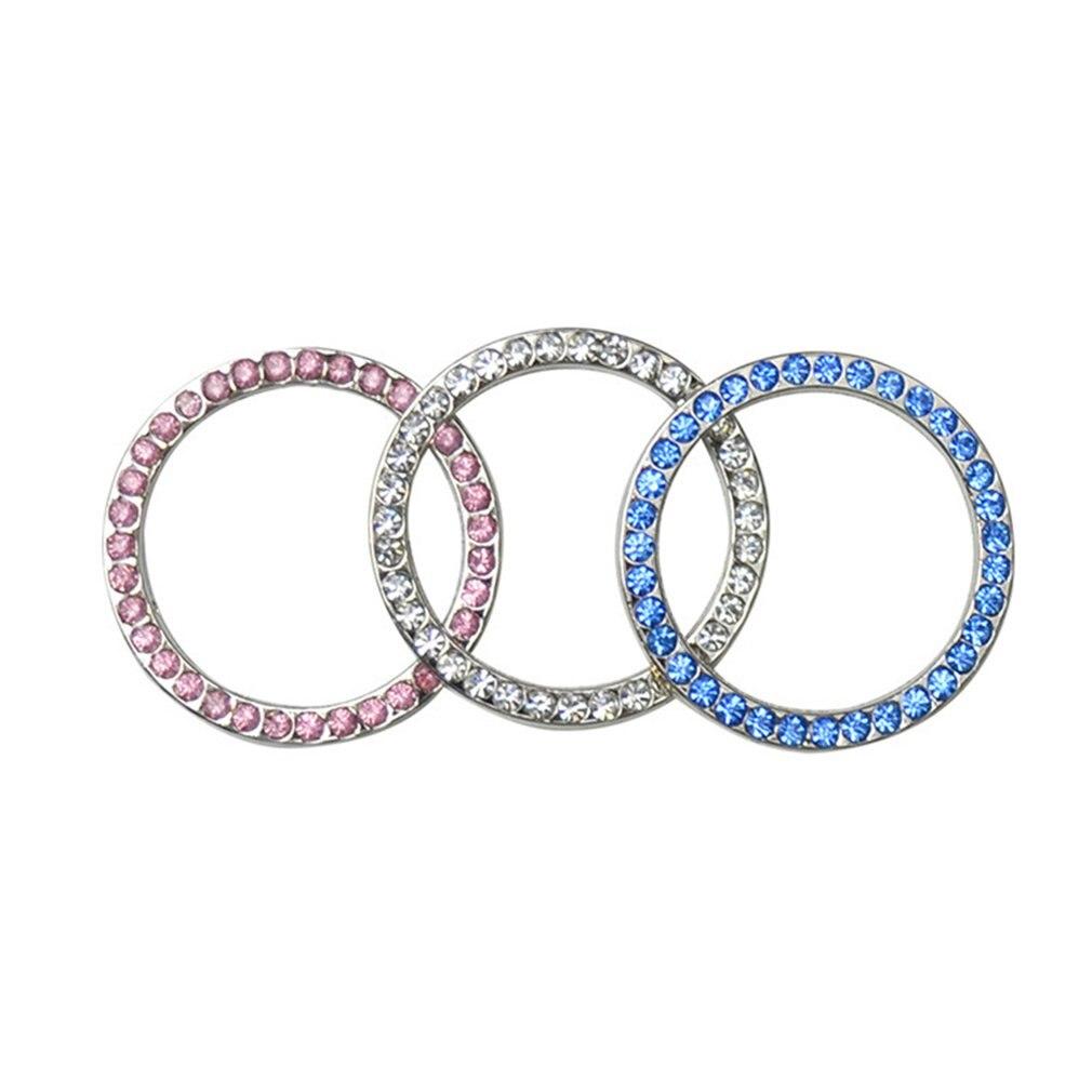 1Pcs White AUTO DECORATIVE ACCESSORIES Car BUTTON START Switch Diamond Ring