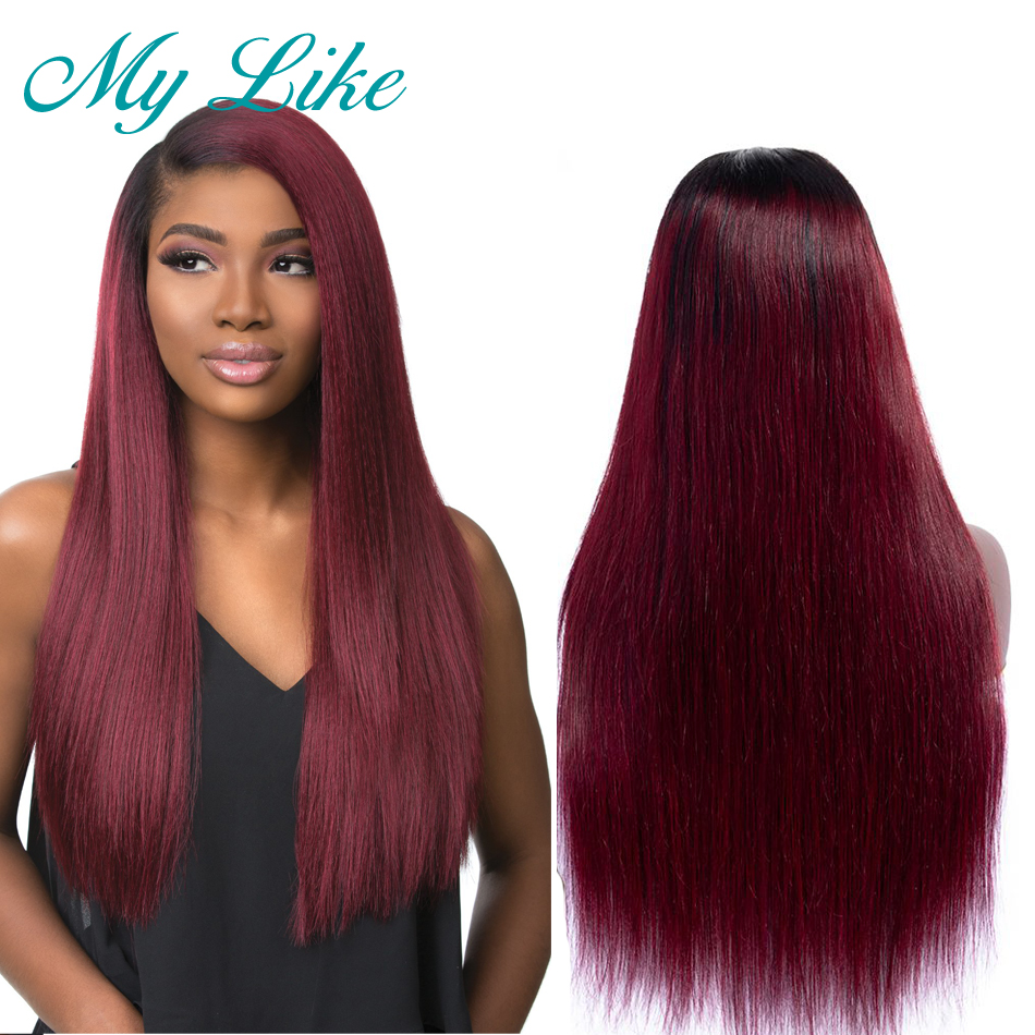 My Like 360 Lace Frontal Wigs Pre Plucked With Baby Hair 1b/99j High Ratio Ombre Remy Straight Human Hair Wigs 130% 150% 180%