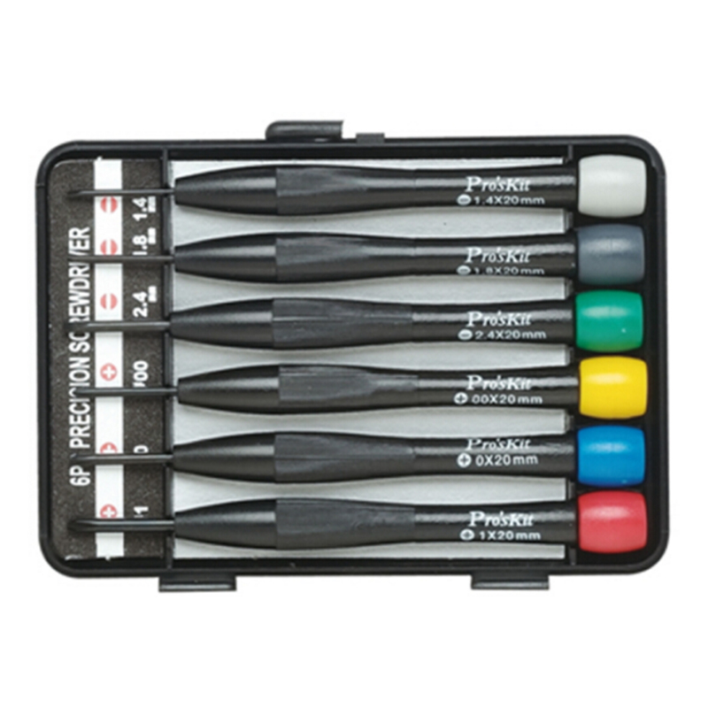 <font><b>Proskit</b></font> 6 Precision Screwdriver Set Chrome Vanadium Steel Phillips Slotted Screwdriver Set For Watch Repair Color Head <font><b>Tool</b></font> Set image