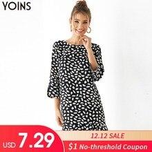 YOINS 2019 Autumn Winter Womens Leopard Dress Black Round Neck 3/4 Length Sleeve