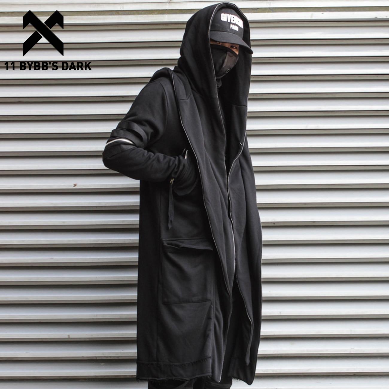 Плащ волшебника 11 BYBB'S DARK, накидка с имитацией двух курток, Мужская Готическая уличная одежда в стиле панк, куртки, пальто, тактическая функци...
