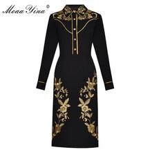 MoaaYina Fashion Designer Runway dress Lente Zomer Vrouwen Jurk Lange mouw luxe Gold Line Borduurwerk Zwarte Jurken