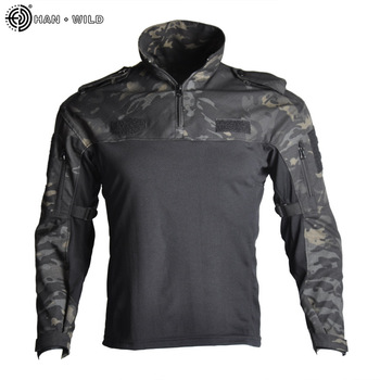 HAN WILD Men's Hiking Shirts Outdoor Hiking T-shirt Military Tactical Shirt Frog Suit Camouflage Shirt for Shooting Hunting