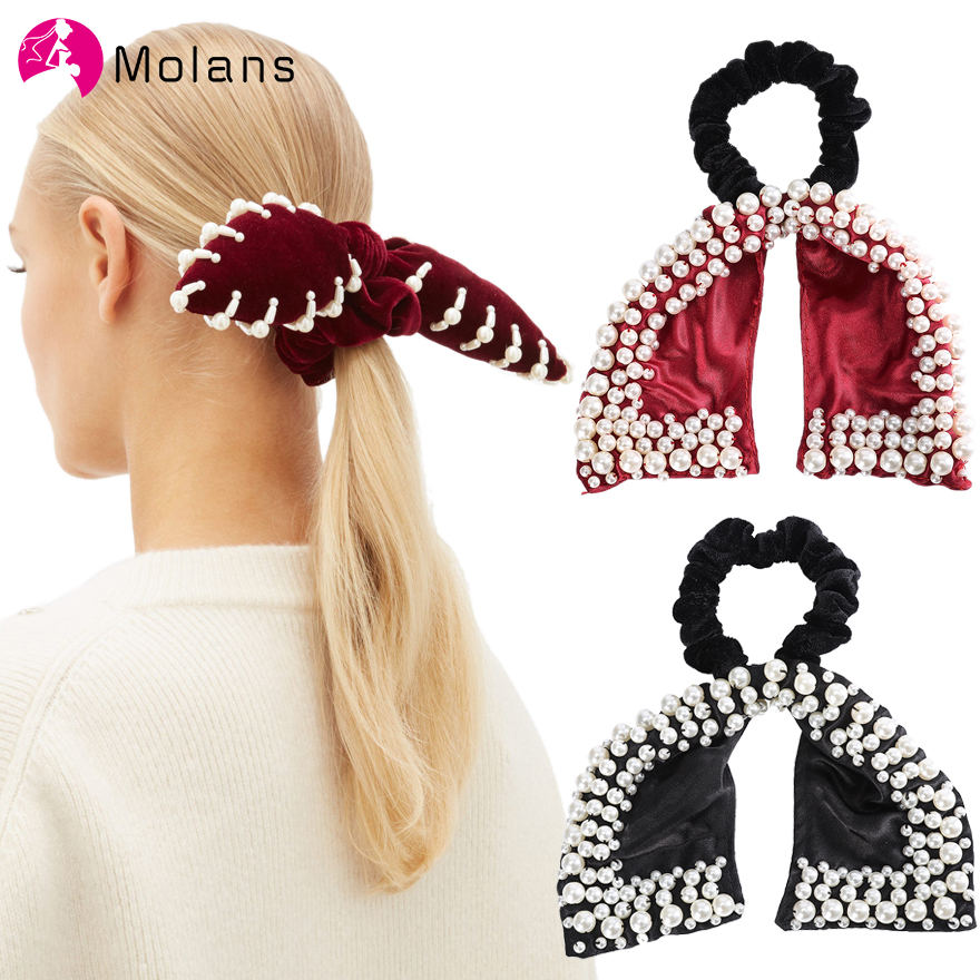 Molans Spring Bow Velvet Scrunchies Solid Women Soft Velvet Eastic Hair Ropes With Pearls Embellished Girls Hair Bands 35%
