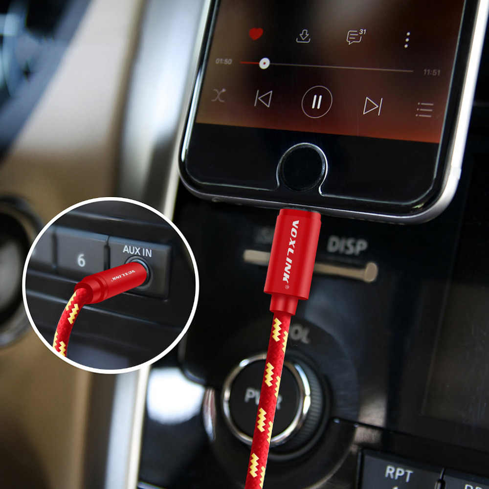 VOXLINK Aux Car Cable For iPhone X XS XR 8 7 plus 1M/3FT 8 Pin to 3.5mm Male Jack Audio Cable For iPhone 7 6 Speaker Headphone