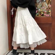 Pleated Skirts Tutu Streetwear Elastic Long Tulle Female Black White High-Waist Womens