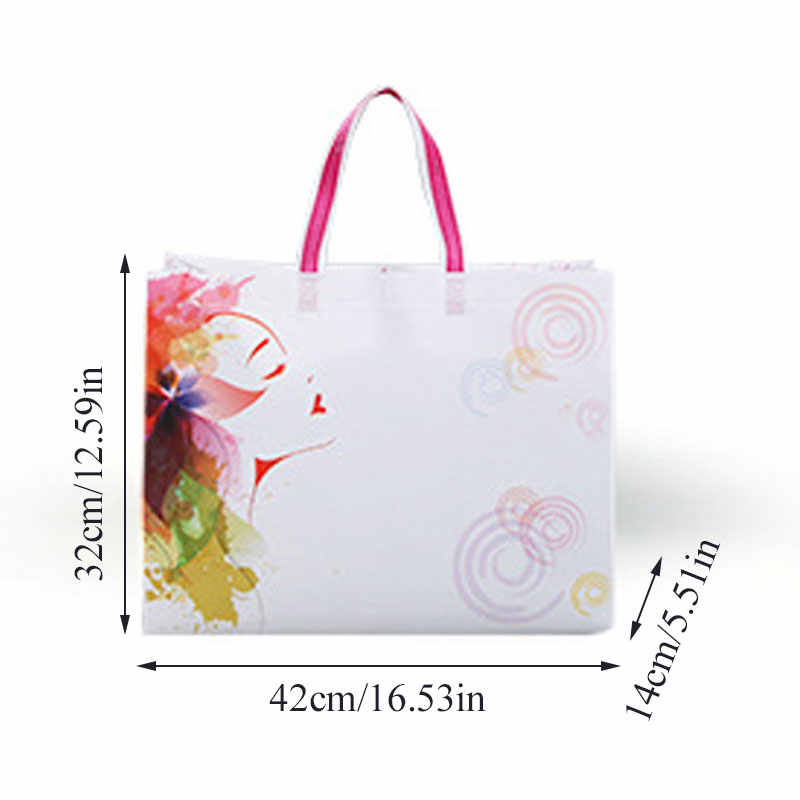 New Fashion Non-woven Fabric Shopping Bag Reusable Solid/Flower Foldable Tote Pouch Eco Waterproof Women Storage Grocery Bag