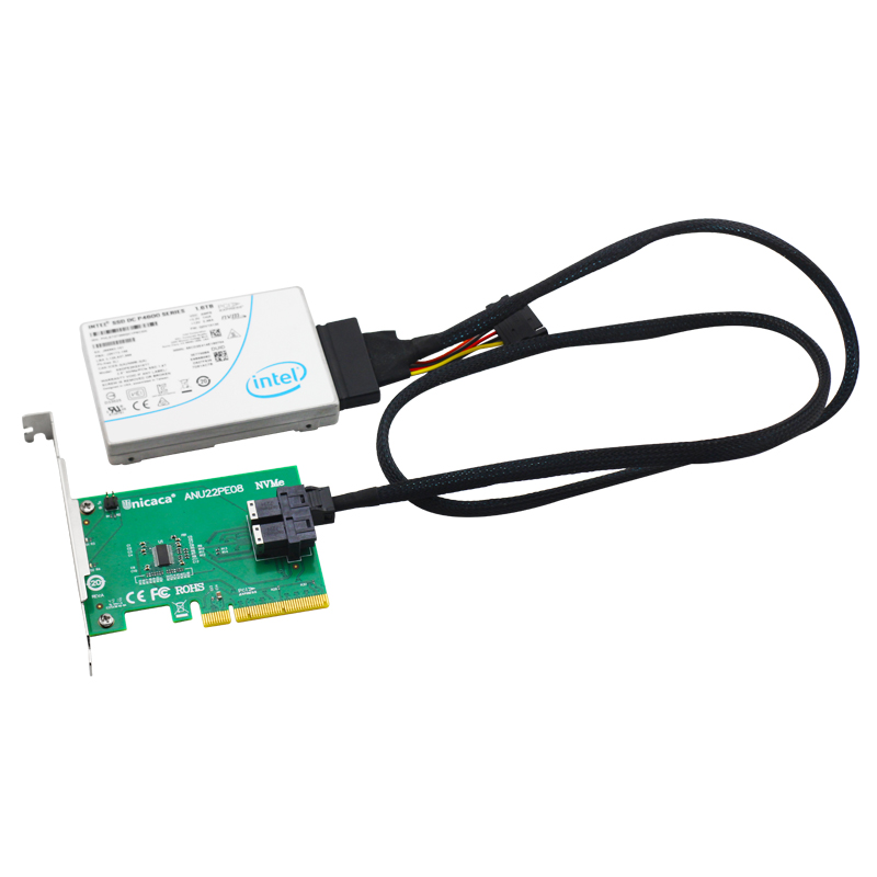 Image 3 - UNICACA ANU22PE08 SFF8643*2 PCIe3.0 X8 12Gb/s U.2 exp rise adapter (support nvme device ) with cable*1-in Add On Cards from Computer & Office