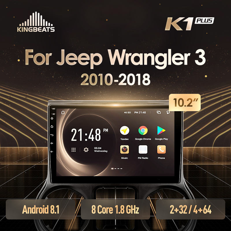 KingBeats Android 8.1 Octa-Core head unit 4G in Dash Car Radio Multimedia Video Player Navigation GPS For Jeep Wrangler 3 JK