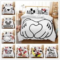 Juego de cama de dibujos animados de Mickey Minnie mouse de Disney pareja encantadora doble rey individual de doble tamaño funda de almohada de edredón para niños
