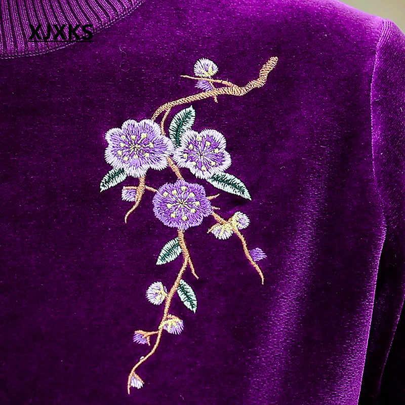 XJXKS 2020 겨울 새로운 두꺼운 따뜻한 느슨한 플러스 사이즈 여성 스웨터 패션 자수 스웨터 여성 풀오버