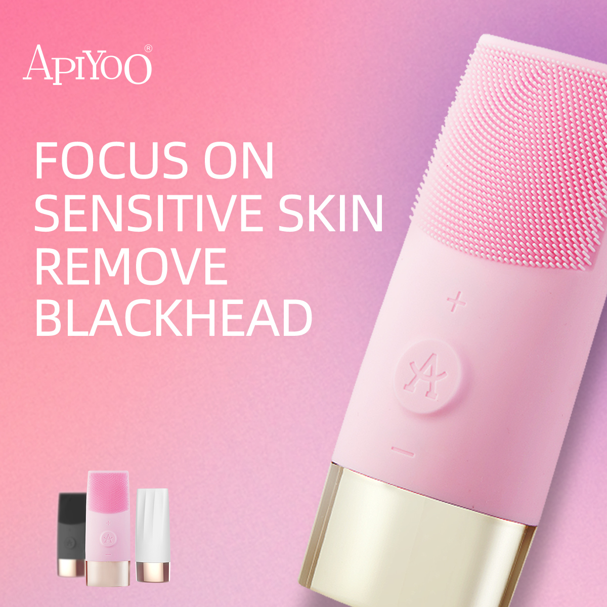 Apiyoo Sonic Facial Cleansing Brush, D7 Rechargeable Silicone Facial Cleanser, IPX7 Waterproof With 10 Speeds For All Skin Types