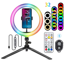26 سنتيمتر RGB ملء التصوير الإضاءة الهاتف Ringlight حامل ثلاثي القوائم صور Led Selfie بلوتوث عن بعد مصباح مصمم على شكل حلقة مصباح يوتيوب لايف