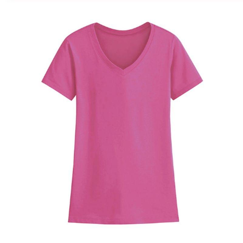 Женская Базовая футболка с V-образным вырезом, топ с коротким рукавом, тянущаяся однотонная приталенная хлопковая Футболка для женщин, лето ...