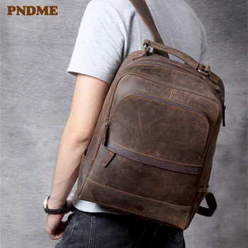 PNDME vintage crazy horse cowhide mens large computer backpack high quality luxury genuine leather outdoor daily travel bagpack