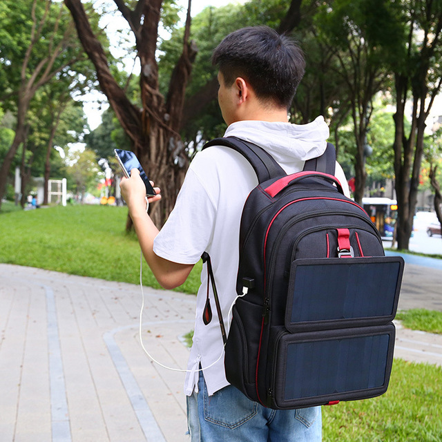 14W Solar Backpack Casual Travel Outdoor Computer Phone USB Charging Bag Solar Powered Designer Bagpack Solar Charger Daypacks 4