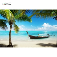 Laeacco Sea Beach Tropical Palm Tree Boats Scenic Photography Background Customized Photographic Backdrops For Photo Studio