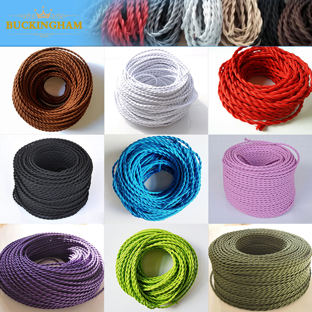 <font><b>2</b></font> <font><b>Core</b></font> Electrical <font><b>Wire</b></font> Vintage Twisted Fabric Cable Woven 0.75mm*<font><b>2</b></font> Cord Textile Cable Pendant Lamp Cord Edison Lighting <font><b>wire</b></font> image
