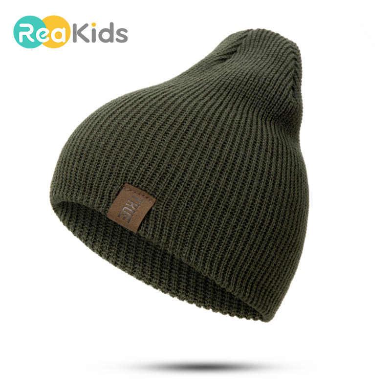 REAKIDS תינוק כובע חורף ילד הורה כובעים לילדים חמים סרוגות בנות ובני כובעים חיצוני רך גברים נשים כובעים עבור ילדים