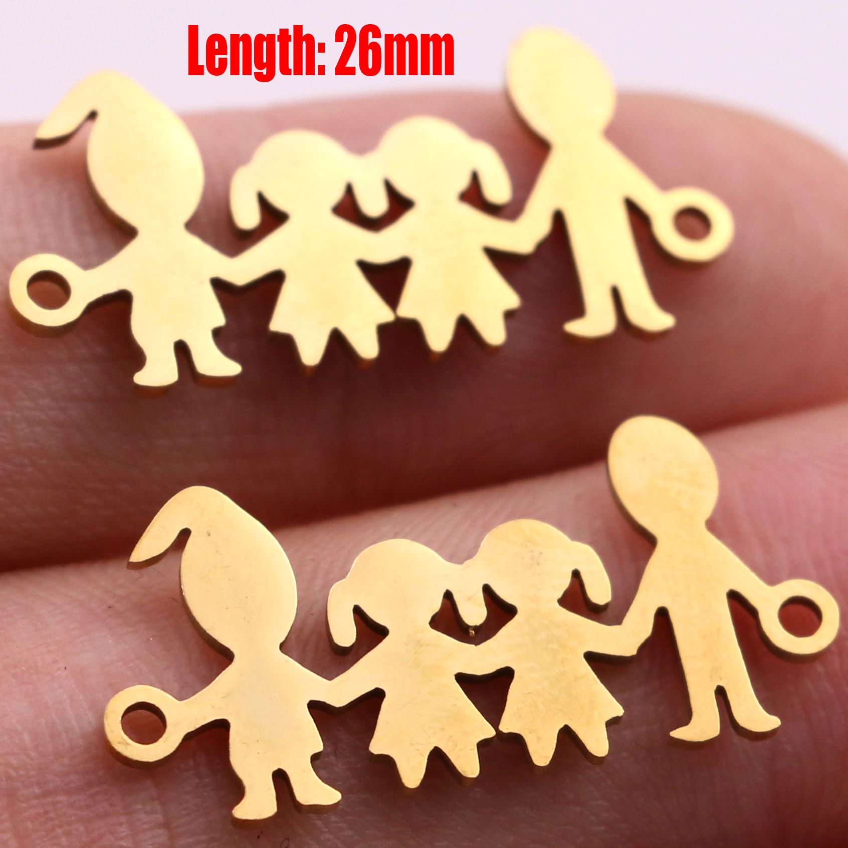 5pcs Family Chain Stainless Steel Pendant Necklace Parents and Children Necklaces Gold/steel Jewelry Gift for Mom Dad New Twice - Цвет: Gold 27
