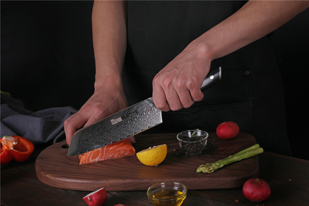 7 inch Japanese damascus steel santoku knife kitchen chef knives vg10 sharp slicing meat fish chop vegetable rosewood handle in Kitchen Knives from Home Garden