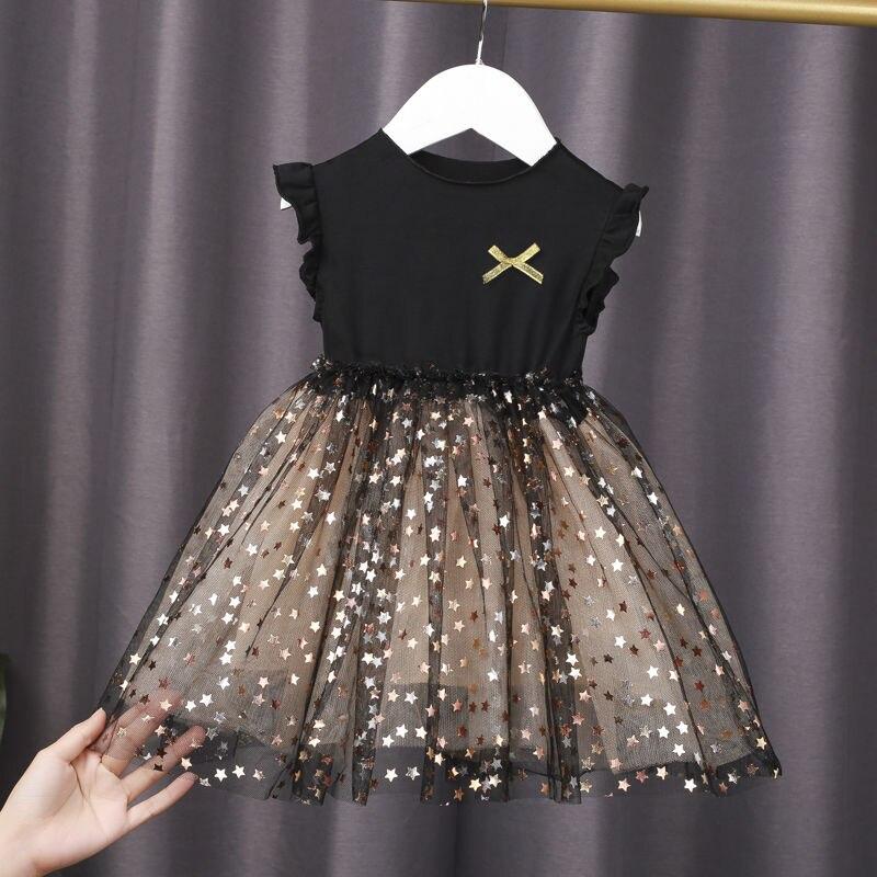 Menina do bebê vestido de verão das crianças vestido de manga curta menina saia macia crianças malha vestido de princesa 0-6 anos