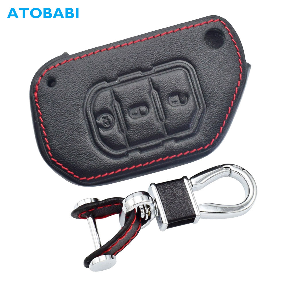Leather Car Key Cover For Jeep Gladiator Wrangler 2019 2020 3 Buttons Folding Keychain Holder Remote Control Fob Protector Case