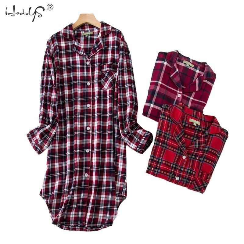 L,XL,2XLPlus size 100% Cotton Women's Flannel Boyfriend Nightshirt Nightgown Nightdress