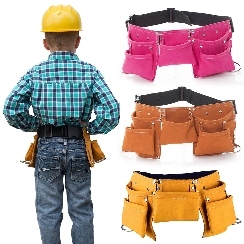 Kids Tool Belt Children Tool Pouch Synthetic Leather Bags For Costumes Dress Up Role Play Garden Adventure Multi Bag Hog