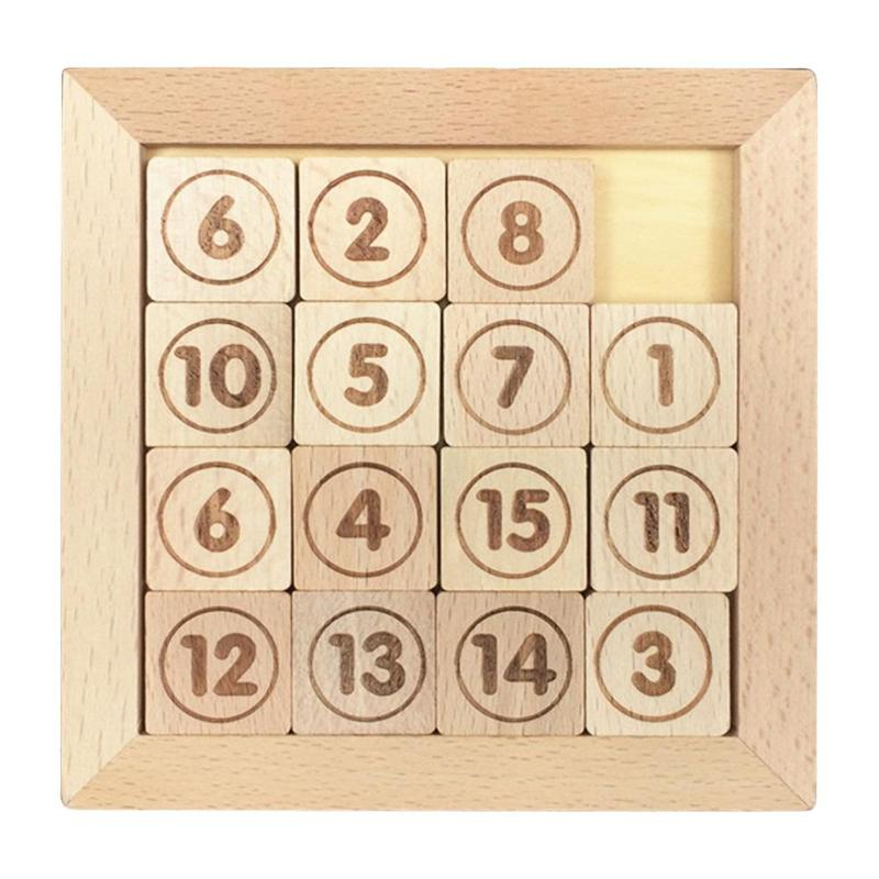 15 Sliding Tiles IQ Game Toys Puzzle Math Wooden Brain Teaser Puzzle Numbers 1-15Number Baffling Game For Adults & Children