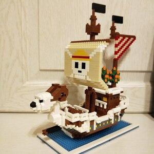 Image 5 - ZMS construcción de un barco de piratas en 3D para niños, One Piece, Luffy, Going, Merry, barco, modelo, DIY, Mini bloques de diamante, juguete de construcción, sin caja, 3445