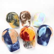 Spring Summer Sunshade Baseball Caps Adjustable Men's And Women's Corduroy Tie Dyeing Hat Fashion Colorful Soprts Hats Wholesale