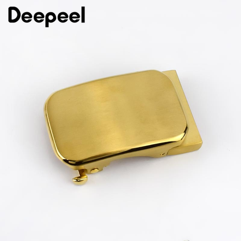 Deepeel 1Pc Solid Brass Belt Buckles Men Brushed Metal Automatic Buckle For Belt 33-35mm Waistband Belt Head DIY Leather Craft