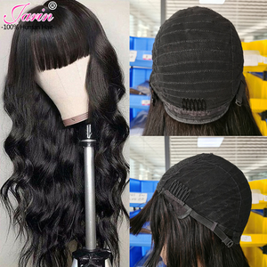 Image 1 - Body Wave Wig Glueless Wigs with Bangs 26 28 Inch Wigs Non Lace Front Human Hair Wigs For Black Women Remy Malaysian Wig