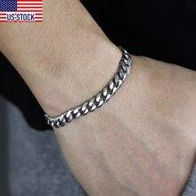 Men's Bracelets Link-Chain Stainless-Steel Silver-Color Wholesale Jewelry Cuban KBB10A