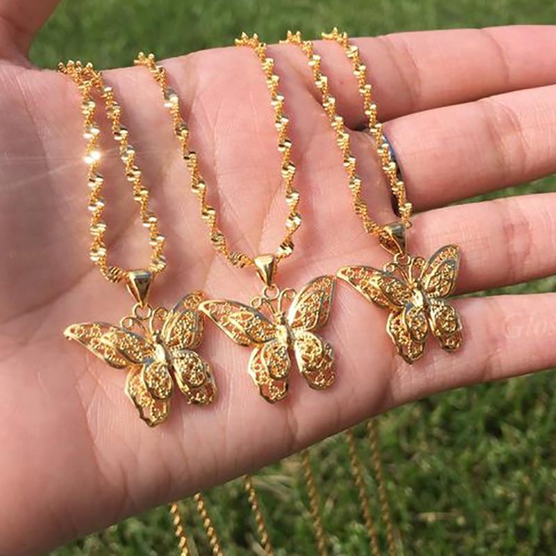 Ожерелье бабочка для женщин золотая цепочка из нержавеющей стали