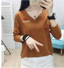 Cotton long-sleeved T-shirt ladies self-cultivation all-match autumn clothes 2021 new inner base shirt