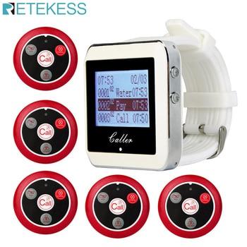 Sistema de llamada de camarero inalámbrico RETEKESS para el servicio de restaurante Sistema de buscapersonas de invitados 1 receptor de reloj + 5 botones de llamada F3288B