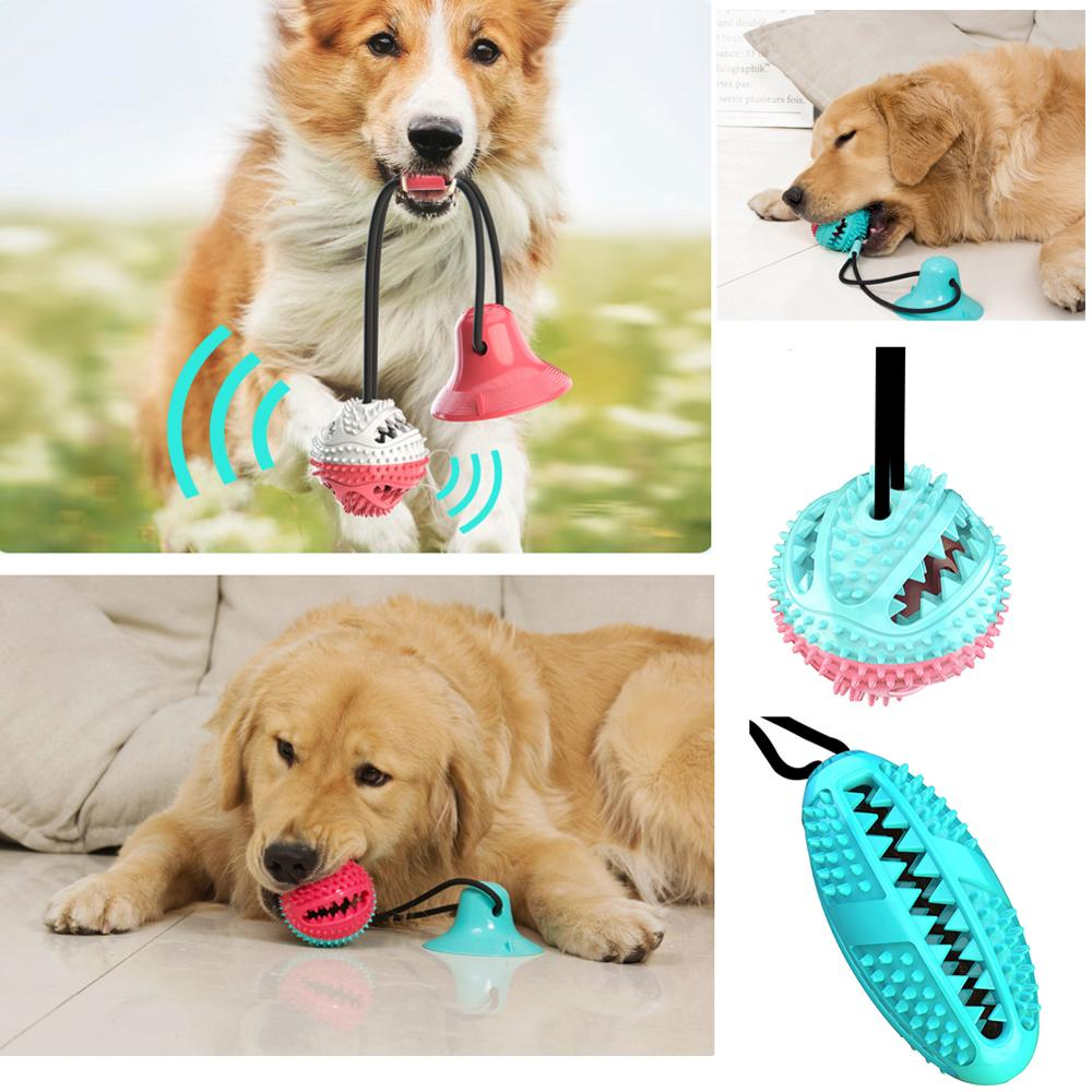 Pet Molar Bite Toys Cotton Rope Rubber Multifunction Dog Chew Ball Toy Teeth Cleaning Toothbrush Puppy Suction Cup Biting Toys image