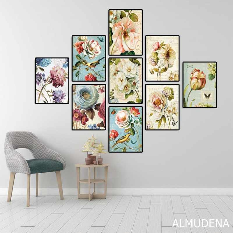 Nordic Poster Retro Colorful Flowers Bird Canvas Paintings Modular Pictures for Living Room Home Decoration Wall Art Prints