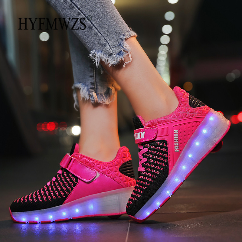 HYFMWZS 2019 Fashion LED Heelys Shoes Breathable Children's Two-Wheel Shoes Detachable Kids Single Wheel Roller Skates 30-40