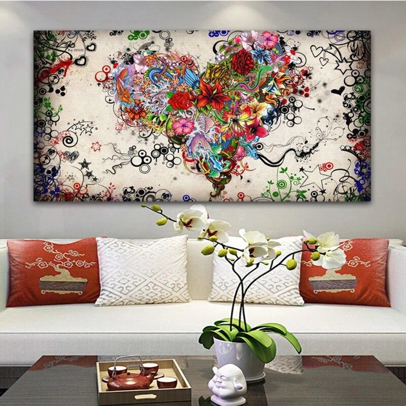Abstracte Hart Bloemen Poster Olieverfschilderij Kleurrijke Muur Kunst Voor Woonkamer Decoratie Foto Voor Thuis Cuadros The Paintings Flower Paintingwall Art Aliexpress