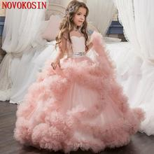 2020 Real Sample Ruffle Tulle Ball Gown Tiered Flower Girl Dresses  Beading Princess Short Sleeves Birthday Party Dress