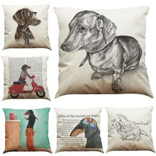 Dachshund Cushion Cover Dog Printed Linen Pillow Cover Car Sofa Decorative Throw Pillows Home Decoration Pillow Case 45*45cm(China)