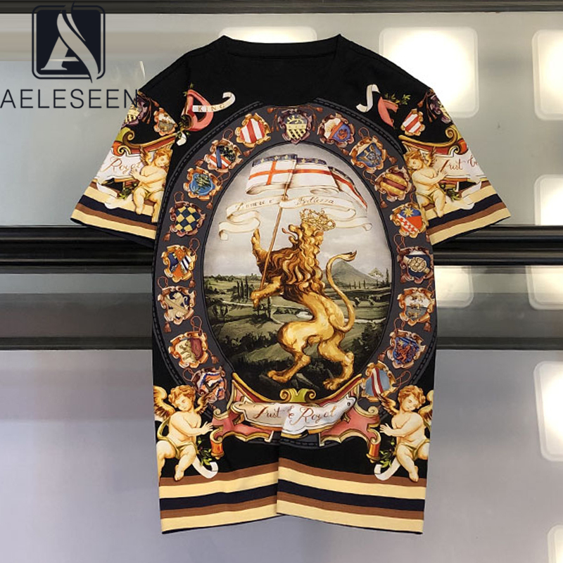 AELESEEN 2020 Drop Shipping Women Print T Shirt Summer Short-sleeve Angel Print Tops Fashion Loose Black and White Tees Shirt