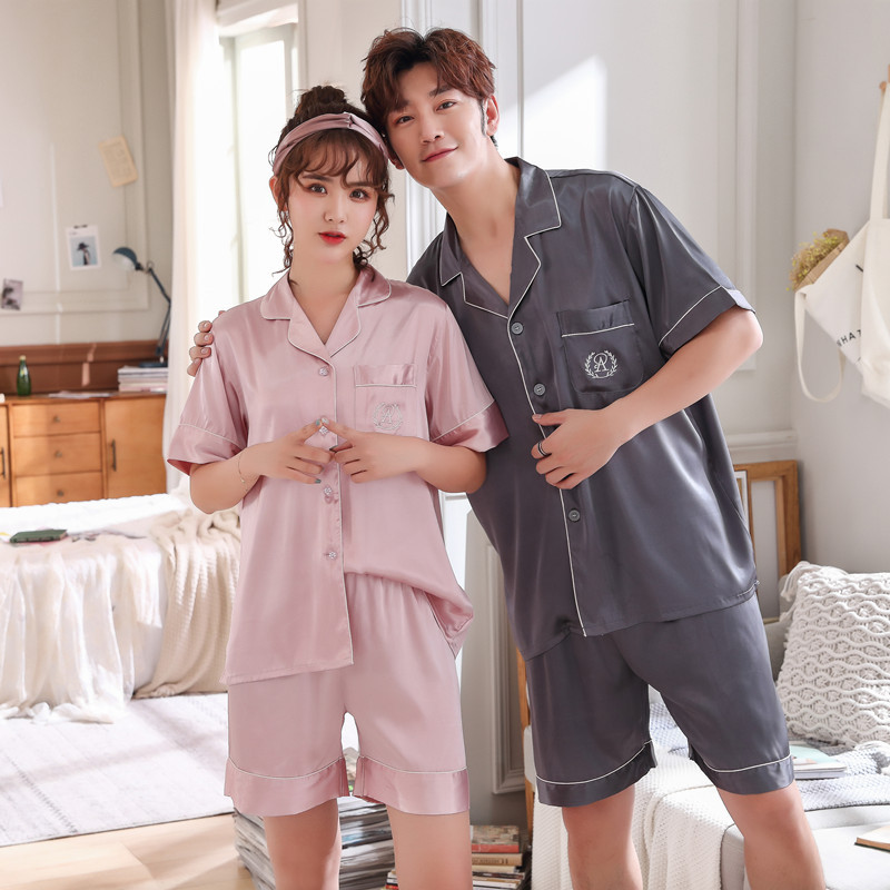 FZSLCYIYI Summer New Fashion Matching Couple Pajama Sets Imitated Silk Fabric Pyjama Suit Nightwear Lovers' Lingerie Tops+Shorts