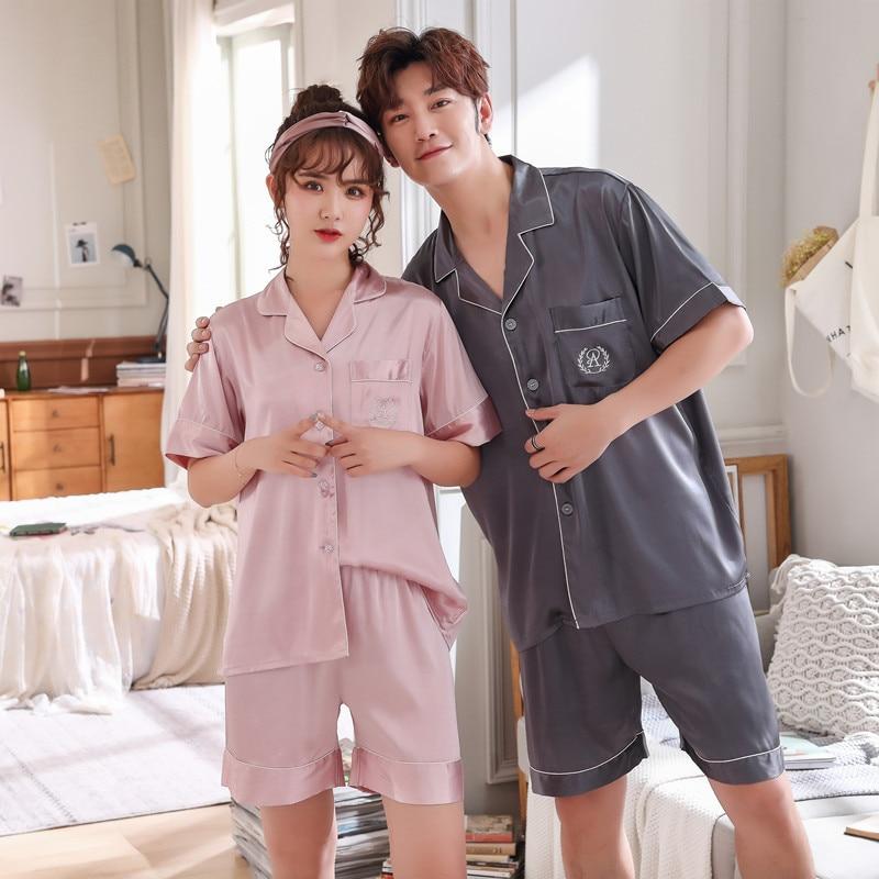 FZSLCYIYI Summer New Fashion Matching Couple Pajama Sets Imitated Silk Fabric Pyjama Suit Nightwear Lovers' Lingerie Tops+Shorts